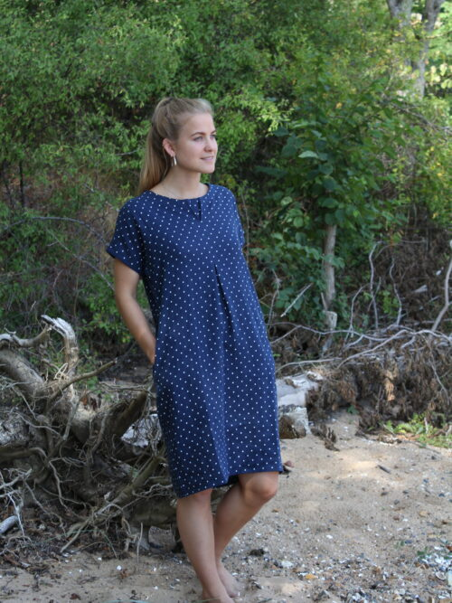 Blue linen dress with white dots