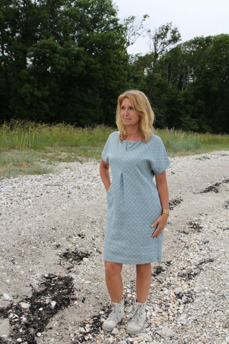Green linen dress with white dots
