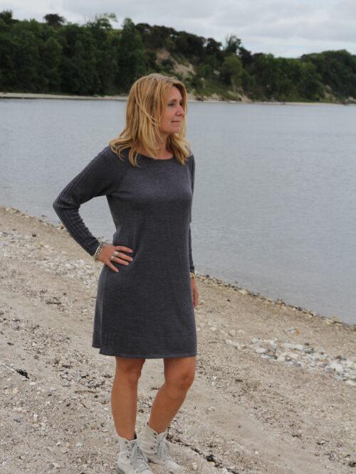 Woman in grey wool dress