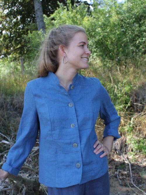 Woman in blue linen jacket