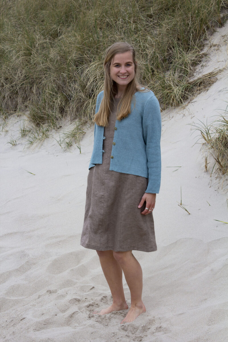 Knitted linen cardigan and linen dress