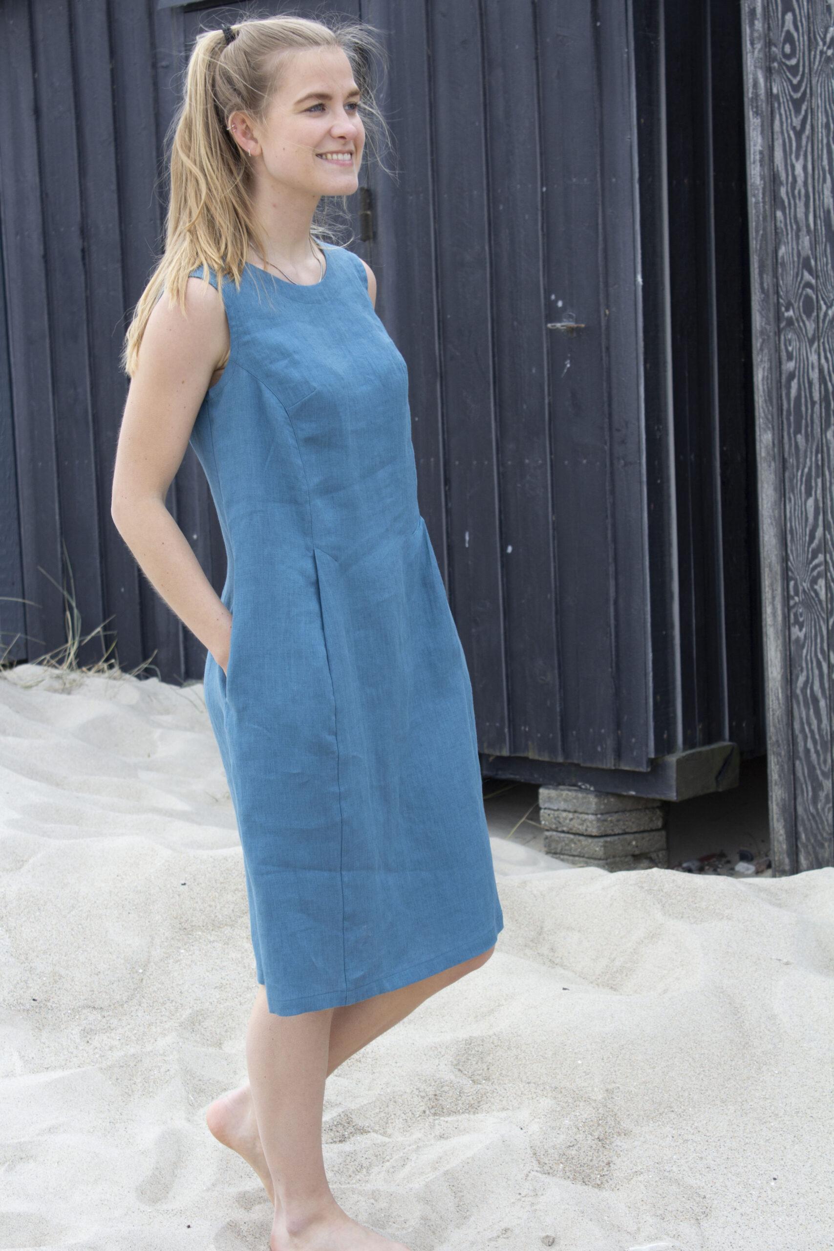 Woman in blue line dress