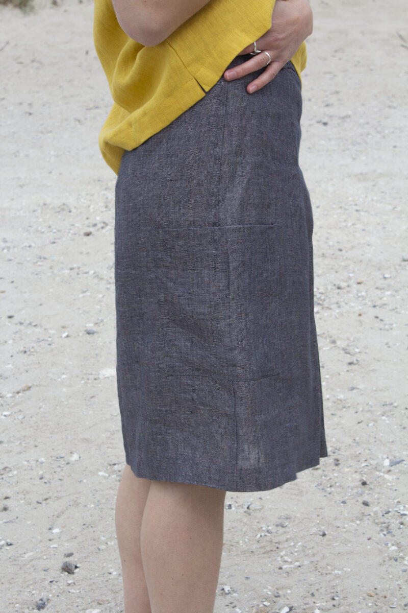 Grey linen skirt detail