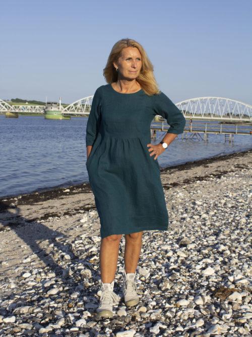Woman in linen dress