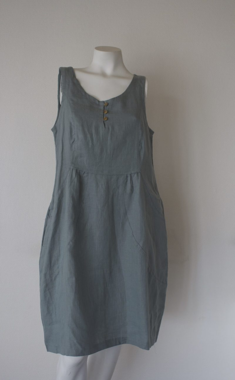 Green linen dress from the front