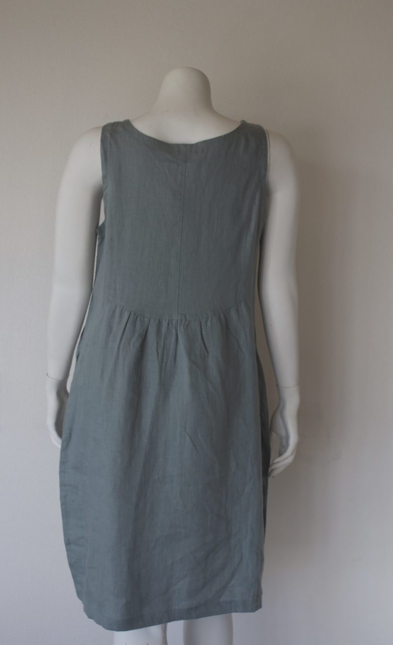 Green linen dress from the back