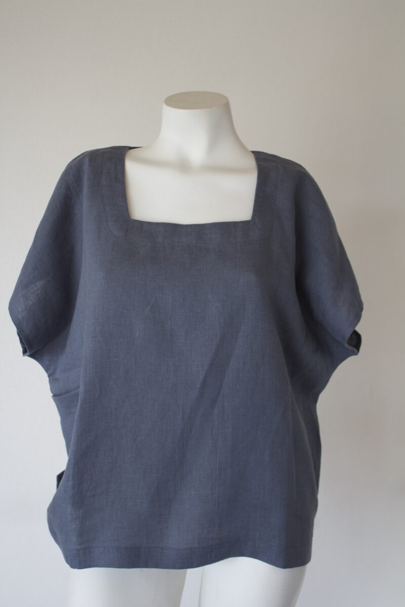 grey linen top with square neck
