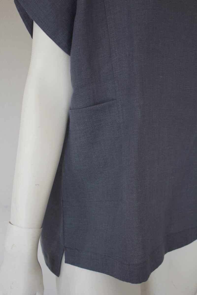 Grey linen top pocket detail