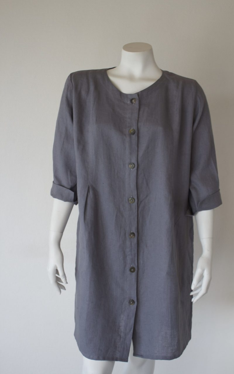 Grey linen jacket with buttons along the front