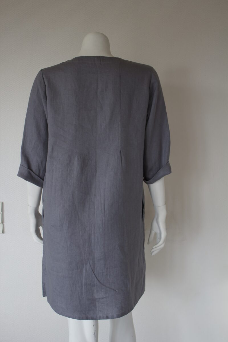 Grey linen jacket from the back