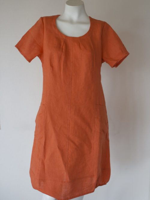 Orange linen dress with short sleeves