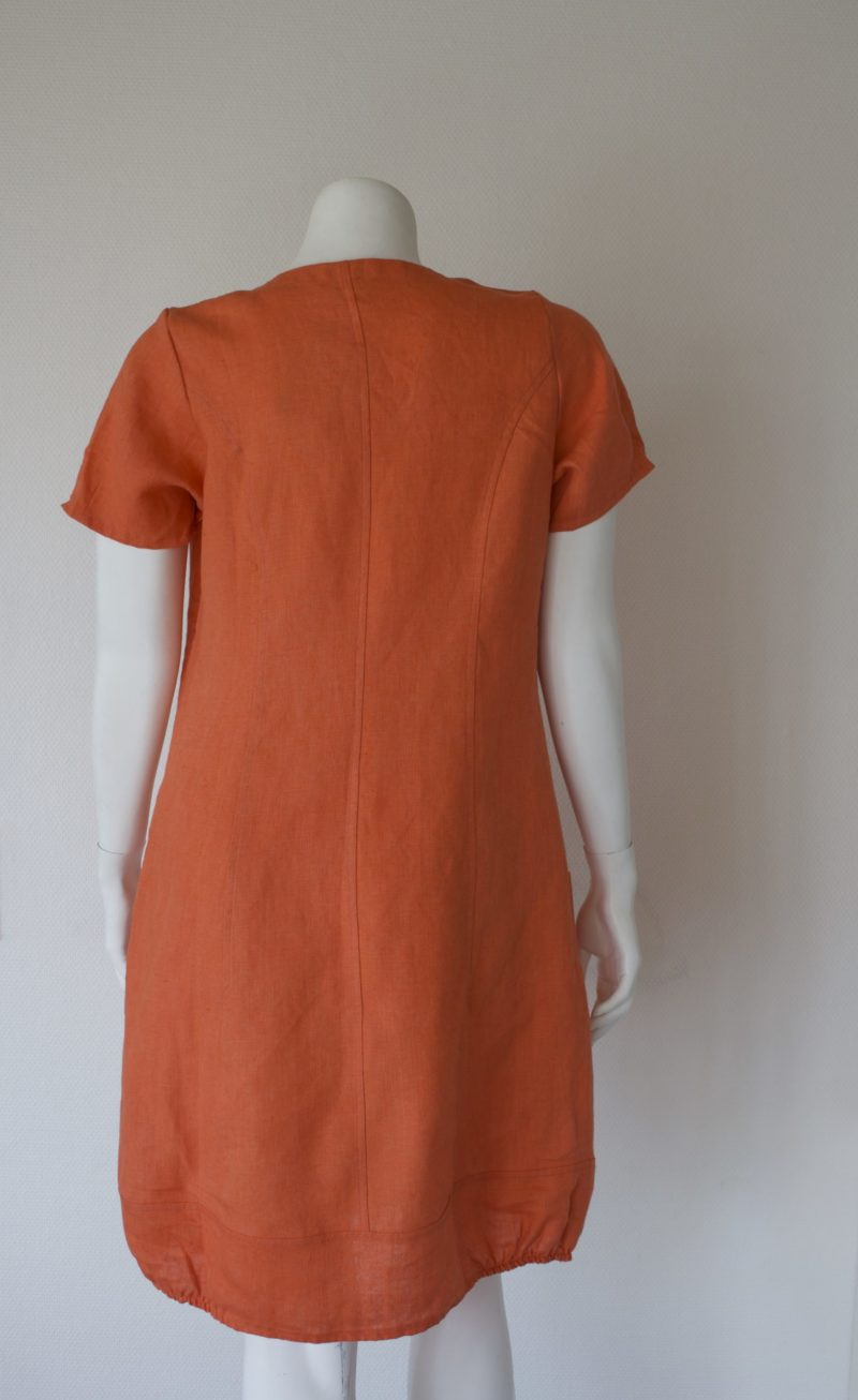 Orange linen dress with short sleeves from the back