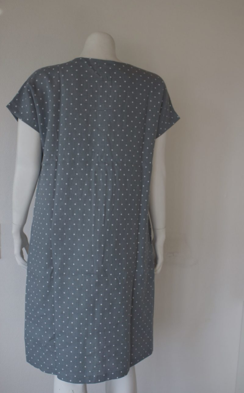 Green dotted linen dress
