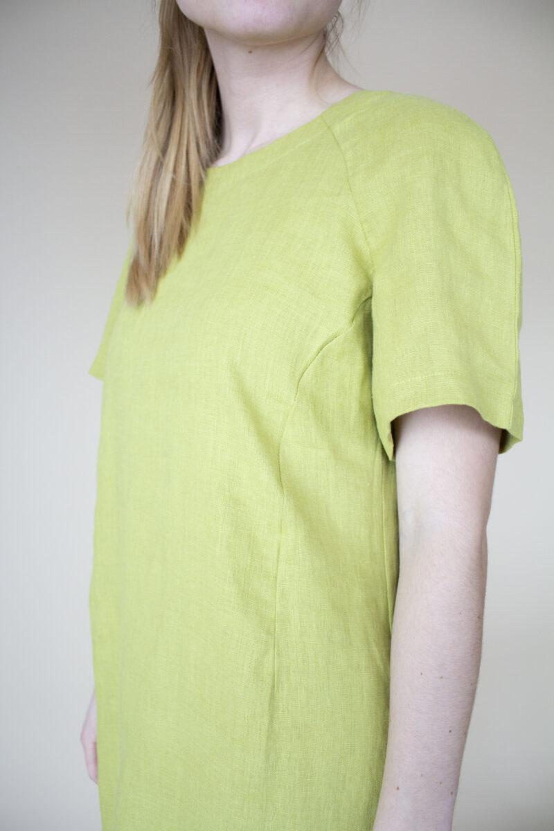 Kjole i hør. Limefarvet kjole