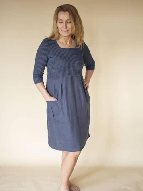 strikket kjole i hør