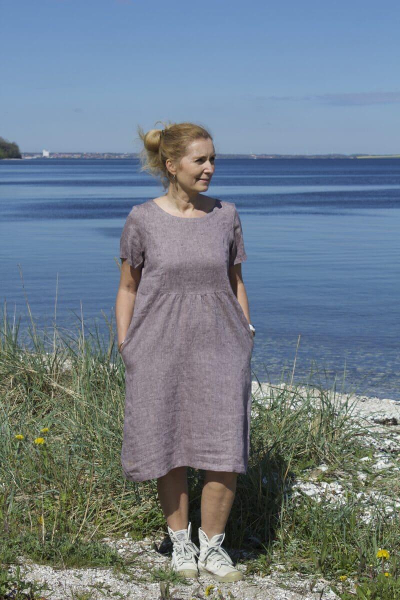 linen dress in lavender