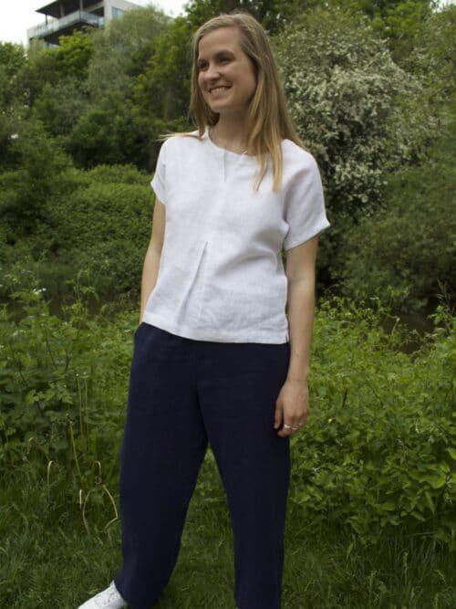 hvid bluse i hør