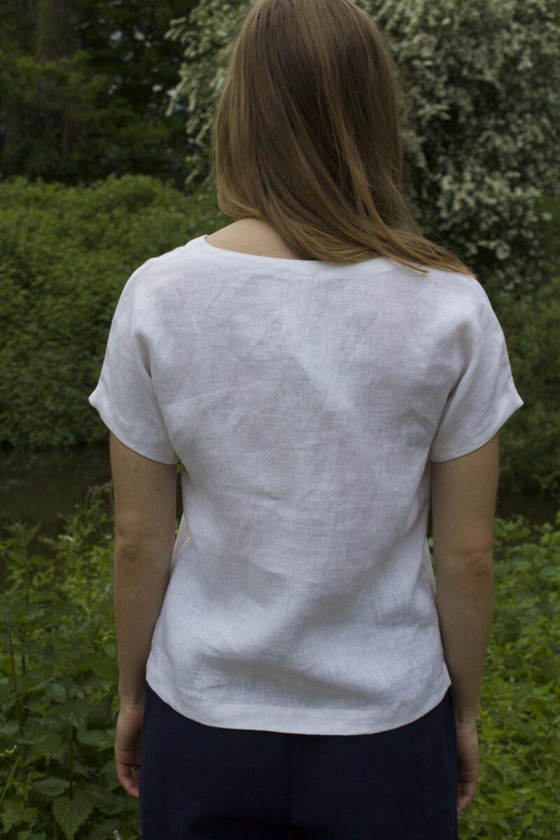 hvid hørbluse