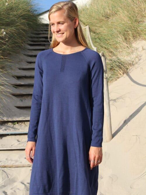 blue dress in merino wool